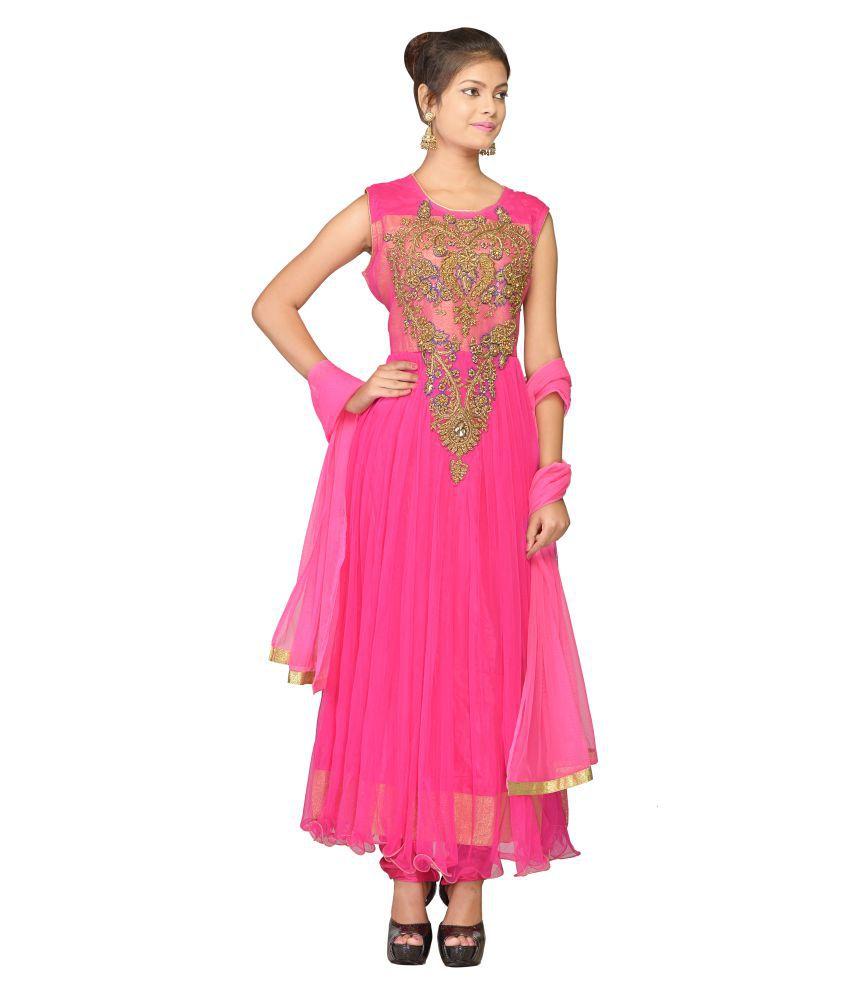 VLS Pink Net Anarkali Salwar Suit