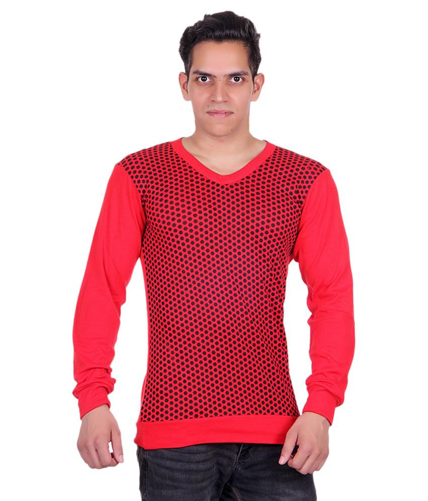 White Moon Red V-Neck T-Shirt