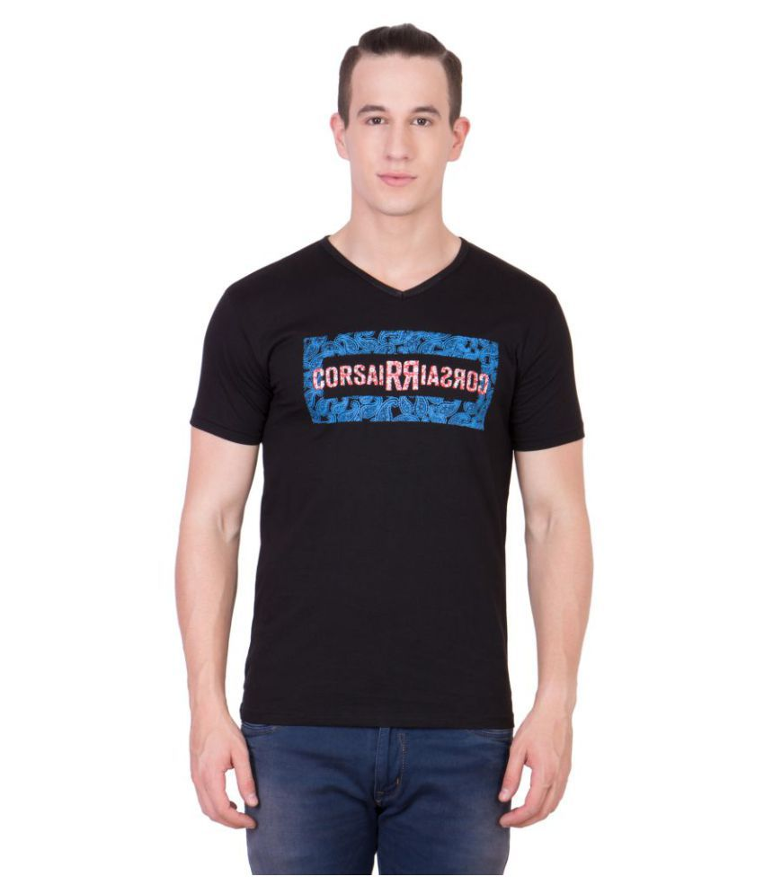 American-Elm Black V-Neck T-Shirt