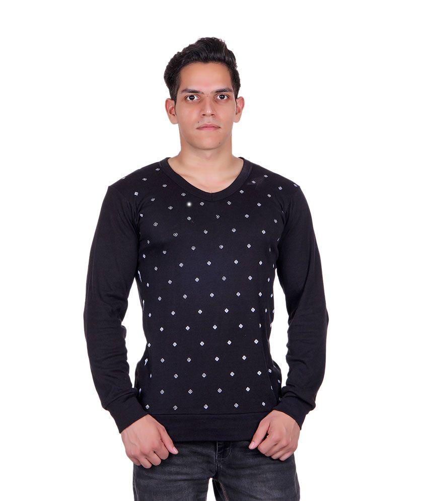White Moon Black V-Neck T-Shirt