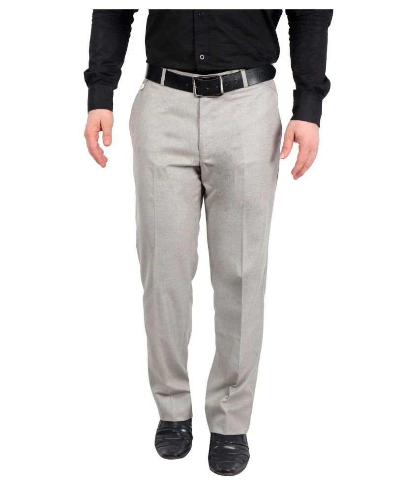 Solemio Grey Slim Flat Trouser