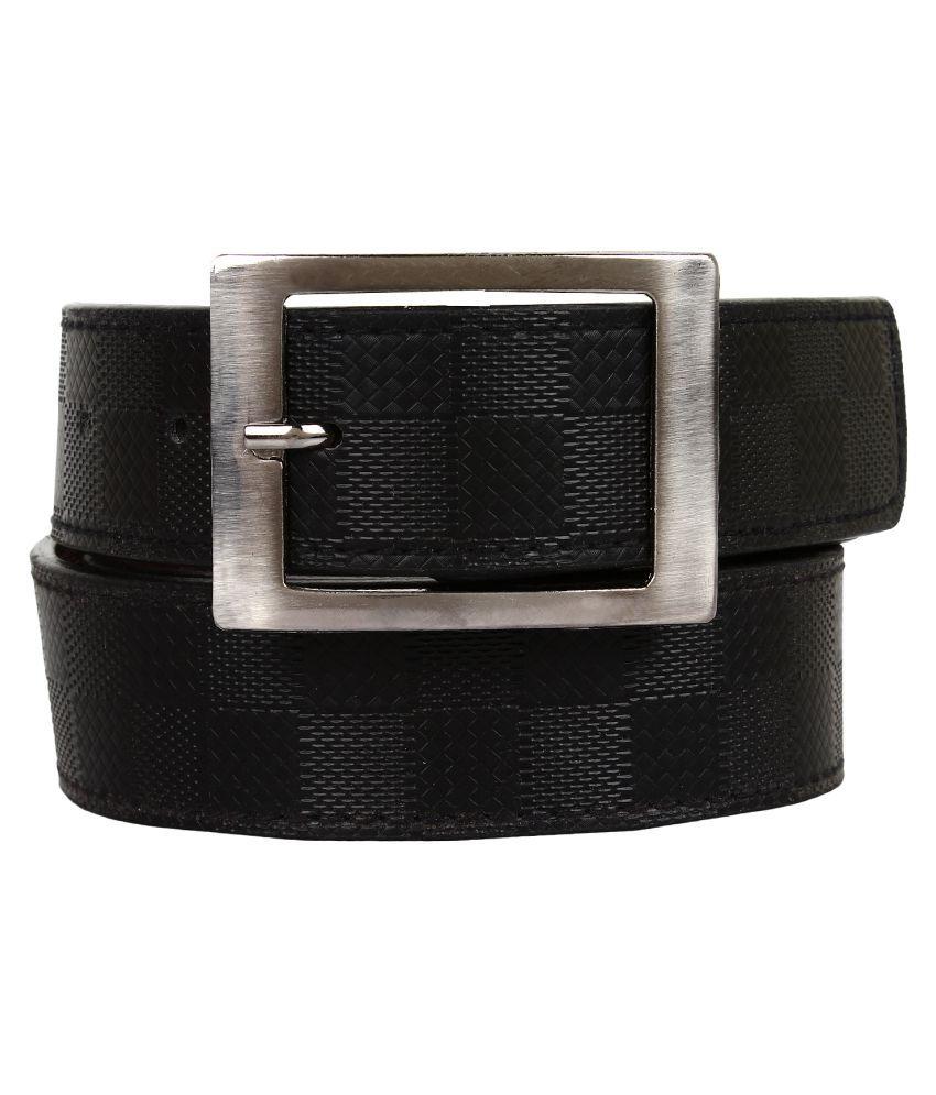 Earton Black Faux Leather Casual Belts
