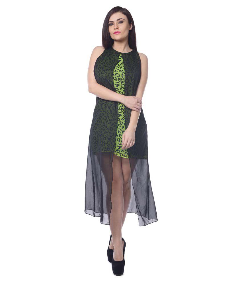 Trendy Divva Green Polyester Shift
