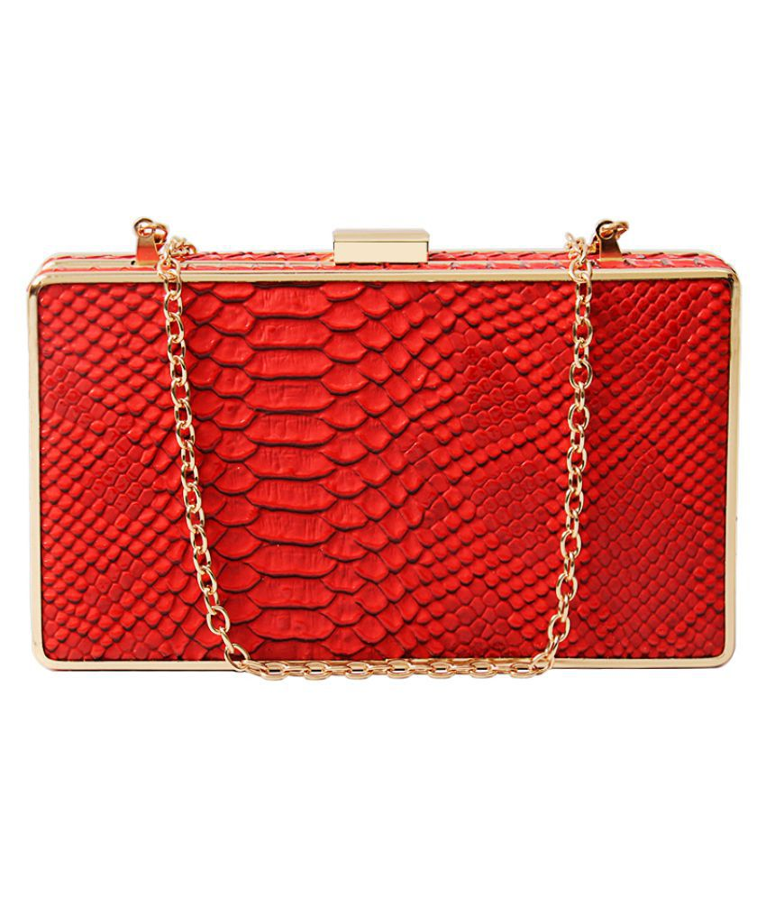 Zoricane Red Faux Leather Box Clutch
