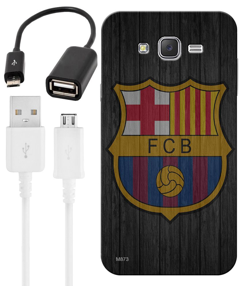 FineArts Combo of Football HD UV Printed Mobile Back Cover, Charging Cable and OTG Cable For Samsung Galaxy J7