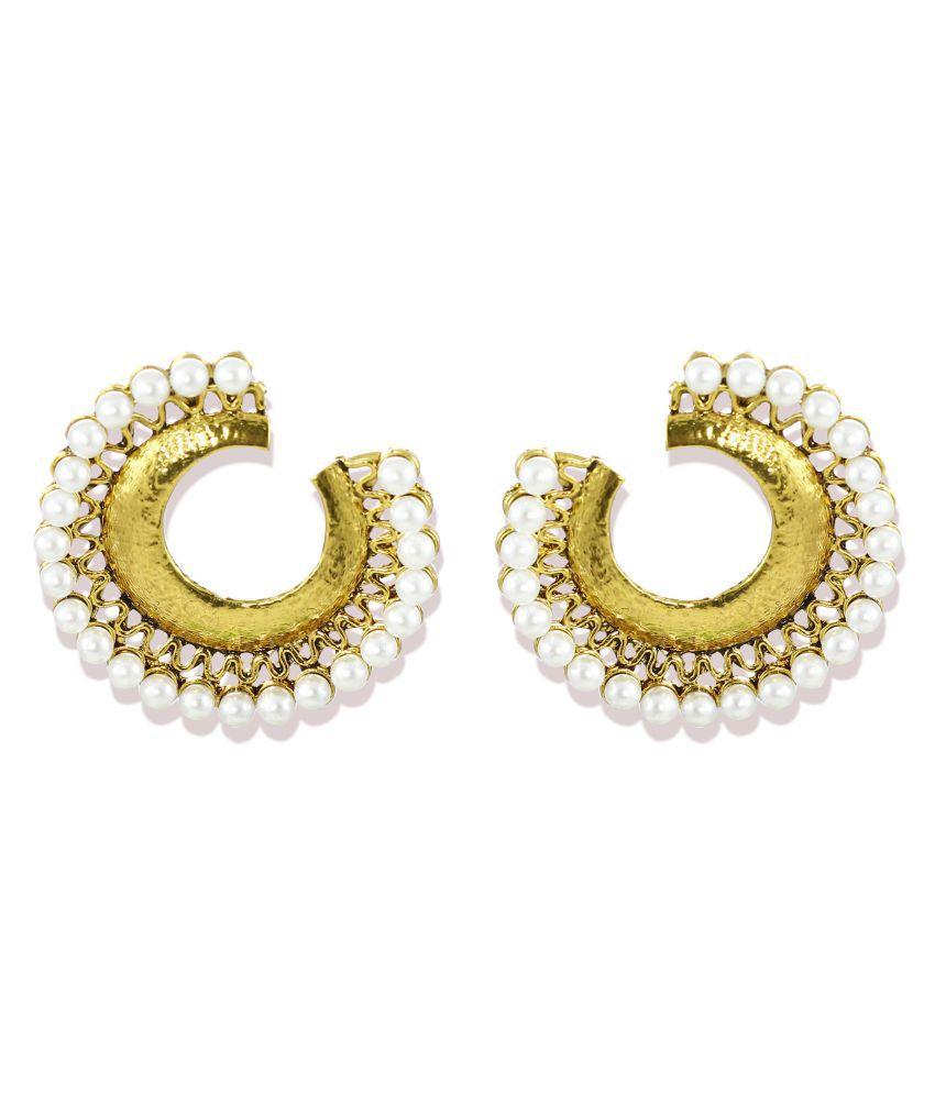 Zaveri Pearls Golden Hanging Earrings