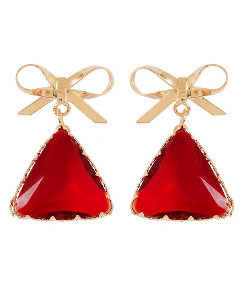 Voylla Red Hanging Earrings