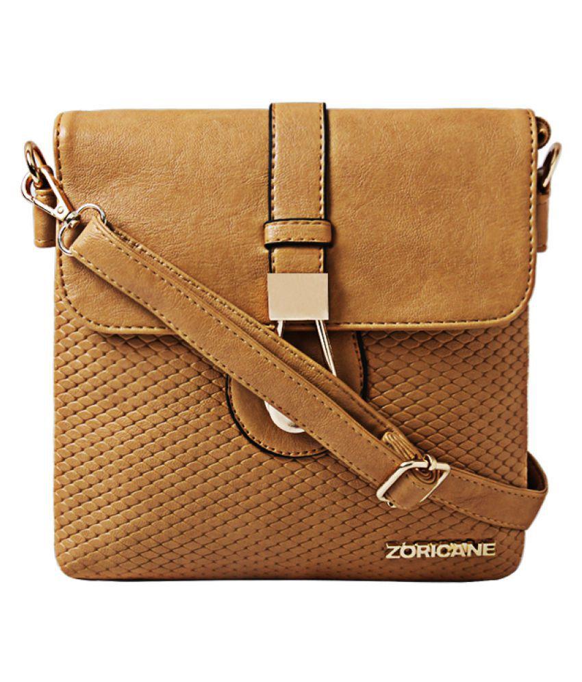 Zoricane Beige Faux Leather Sling Bag