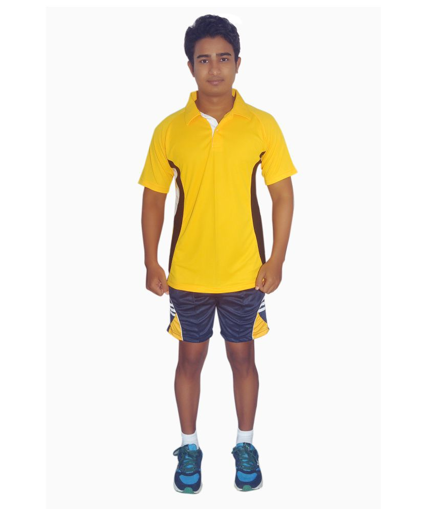 Dyed Colours Yellow Polyester Polo T-Shirt