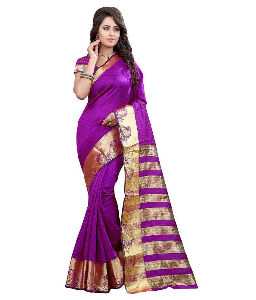 Shopping Point Purple Banarasi Silk Saree