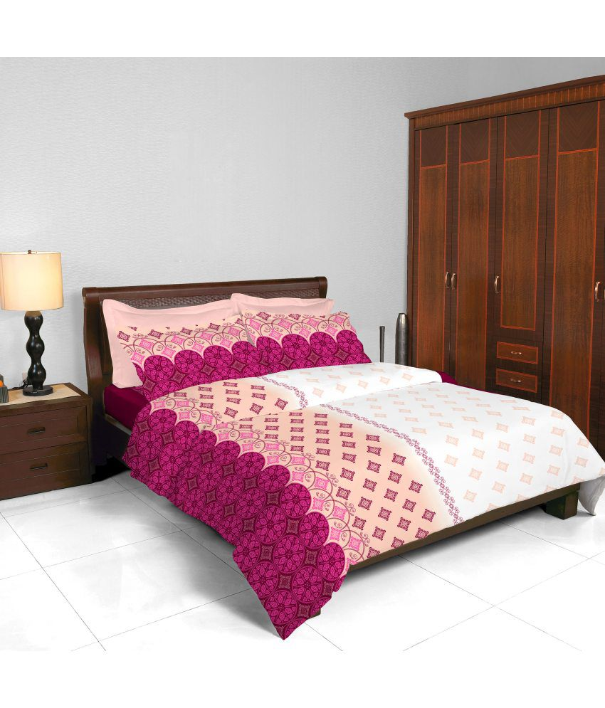 bombay dyeing coral vine raspberry double bedsheet
