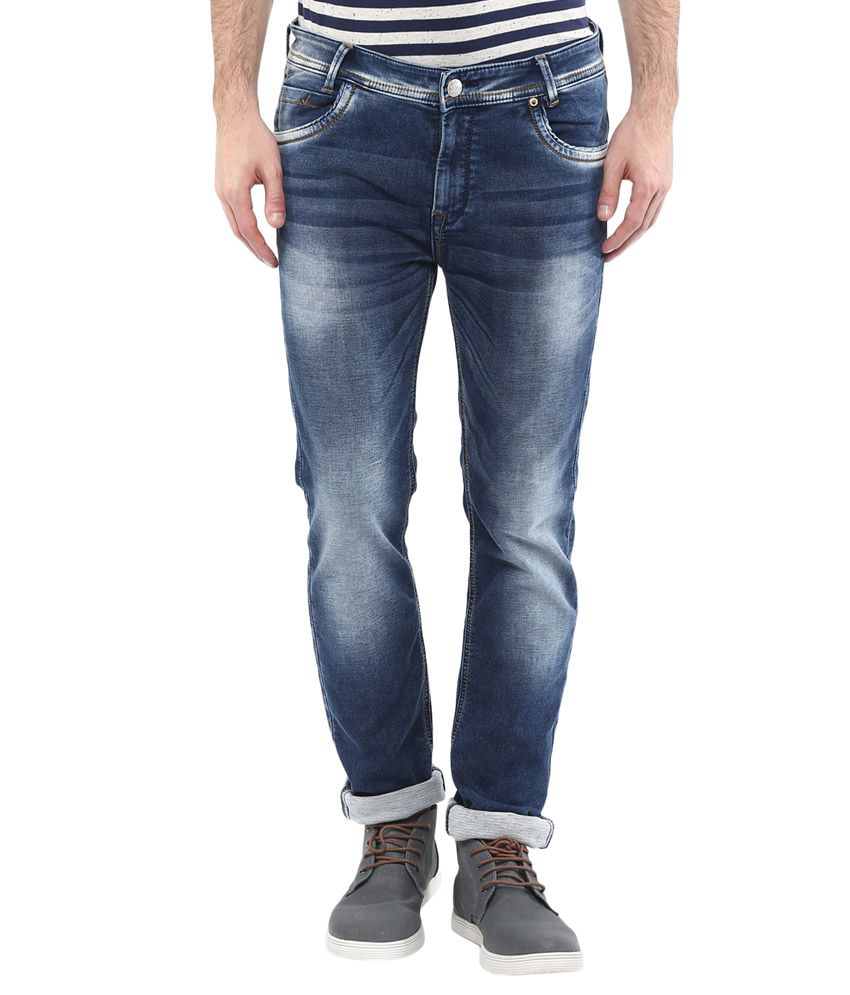 Mufti Blue Regular Fit Faded Jeans