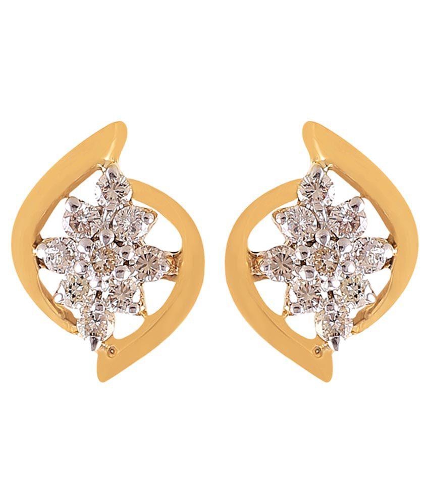 Jisha 18k BIS Hallmarked Gold Diamond Studs