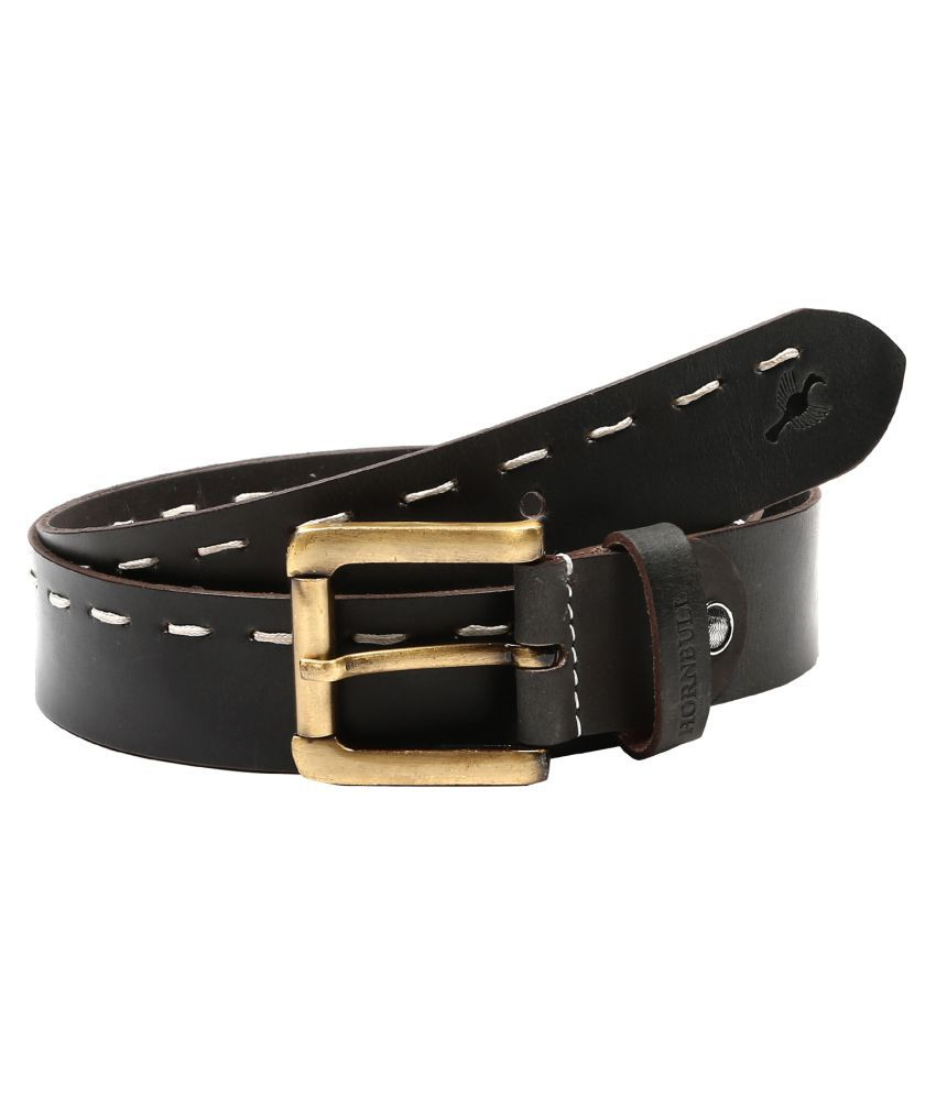 Hornbull Black Leather Casual Belts