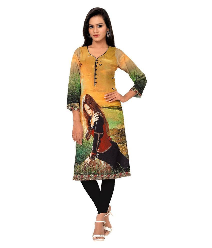 F3 Fashion Multicoloured Crepe Straight Kurti