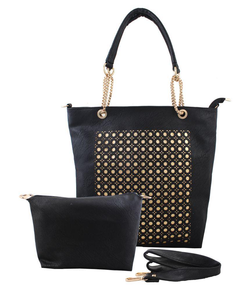 Raas Bazaar Black Faux Leather Shoulder Bag