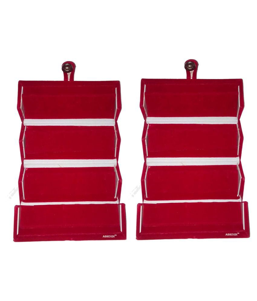 Abhinidi Maroon Wood Jewellery Box - Pack of  2