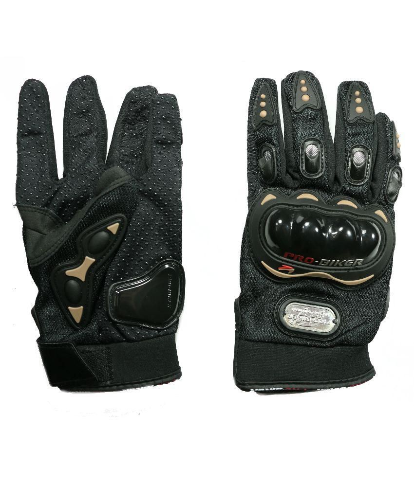 Buy leather hand gloves online india -  Auto Hub Black Synthetic Leather Biking Gloves