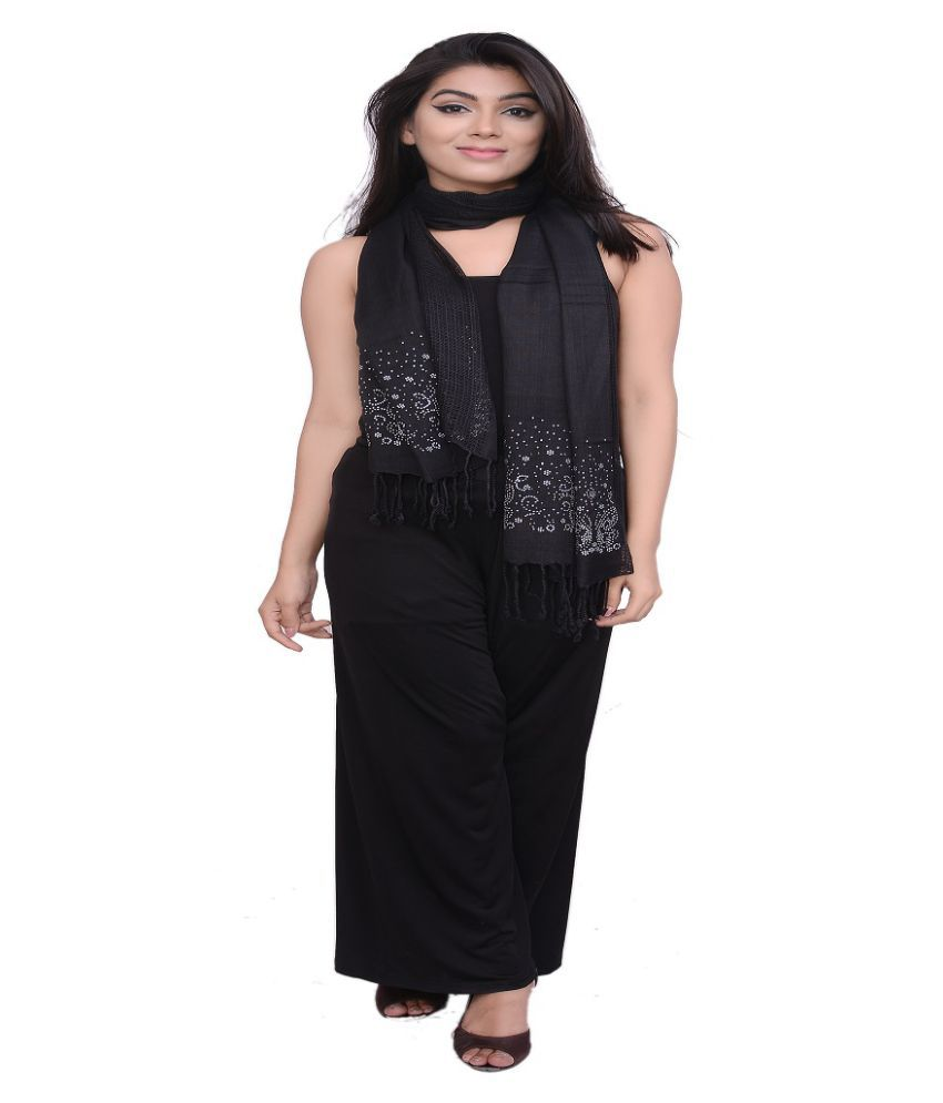 Dream Fashion Black Viscose Stone work Shawls