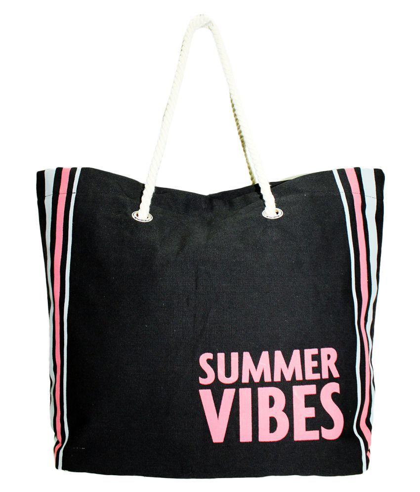 Tiara Black Canvas Tote Bag