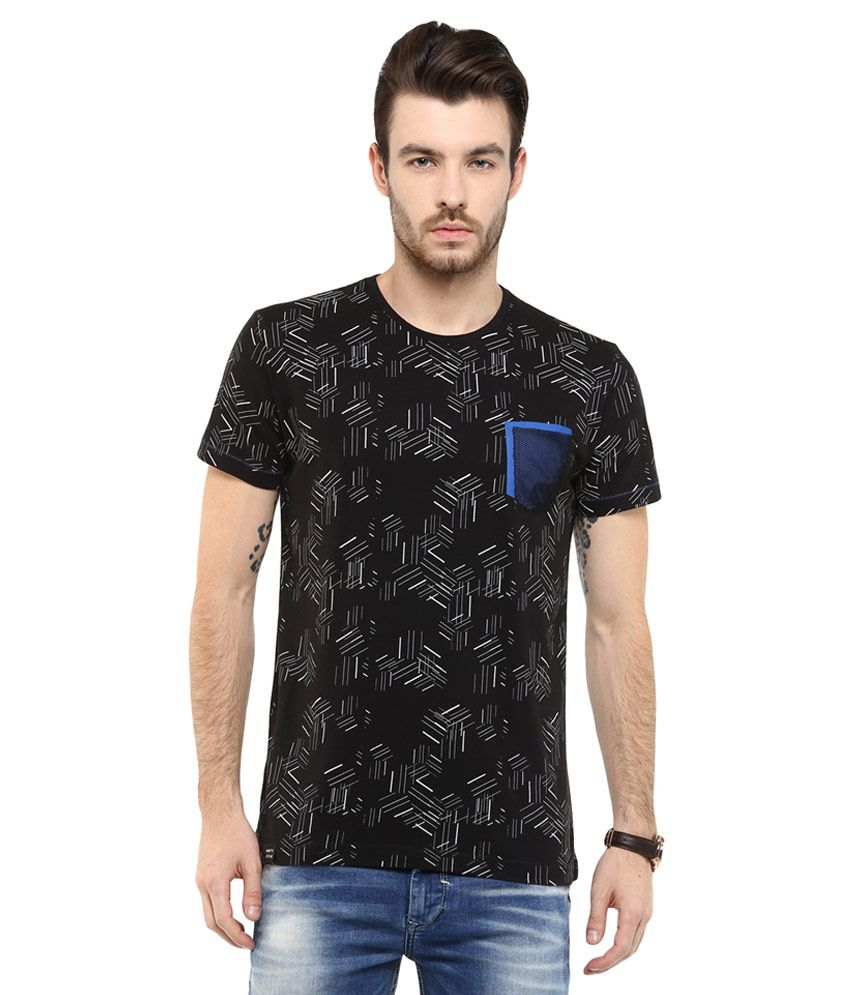 Mufti black printed slim fit t shirt buy mufti black for Fitted t shirt printing
