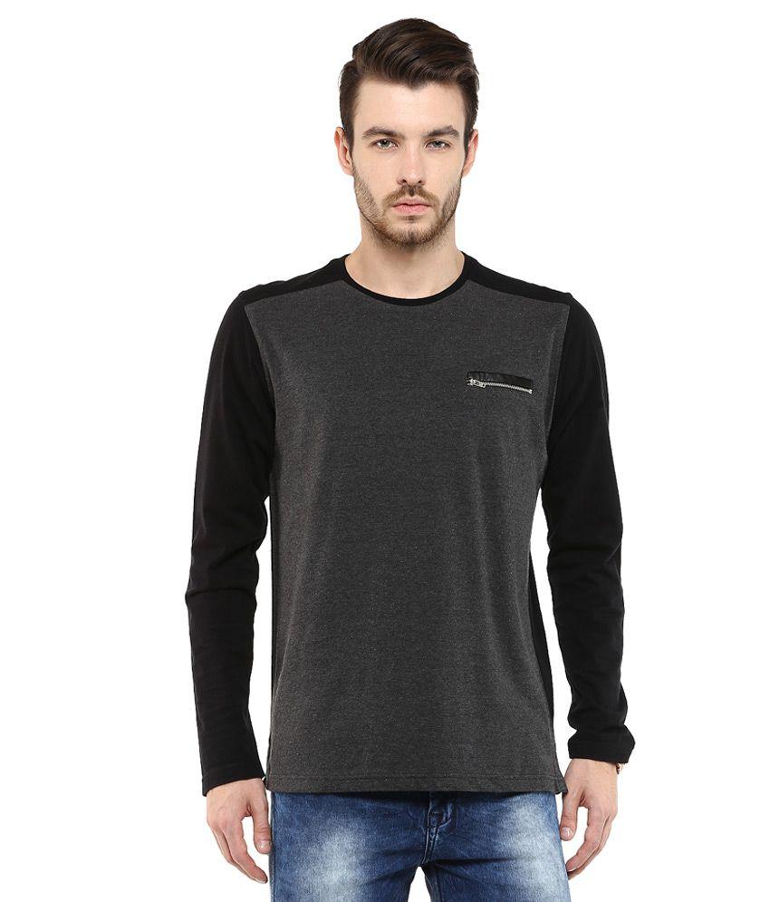 Mufti Grey Solid Slim Fit T-Shirt
