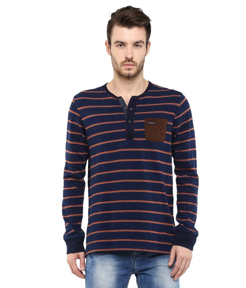 Mufti Navy Blue & Orange Striped Slim Fit Henley T-Shirt