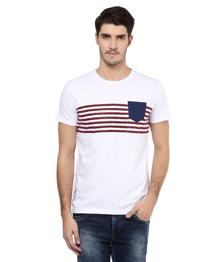 Mufti White Striped Slim Fit T-Shirt