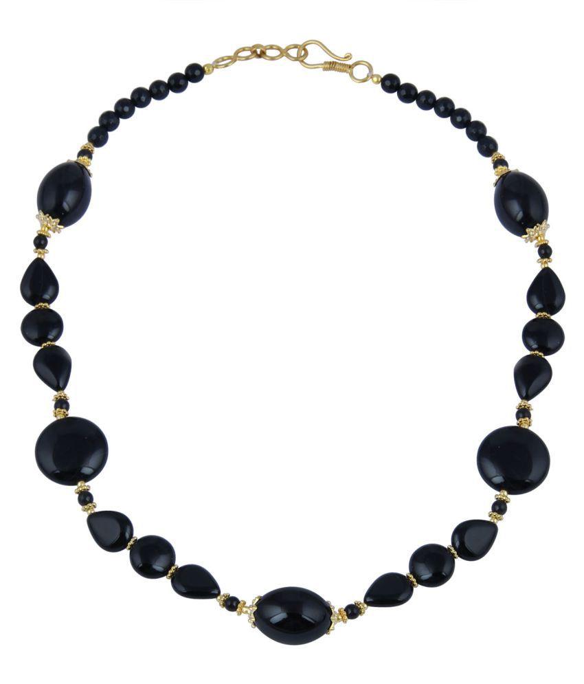 Pearlz Ocean Black Alloy Contemporary Necklace