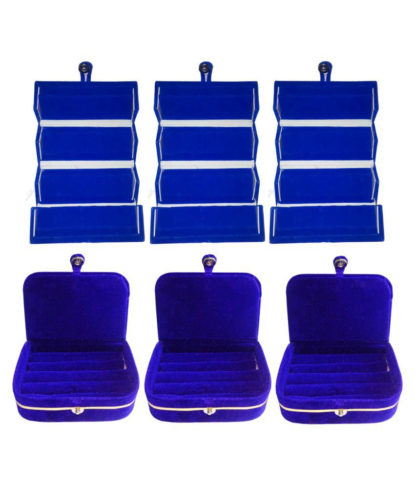 Abhinidi Combo of Blue Three Earrings and Three Ring Boxes