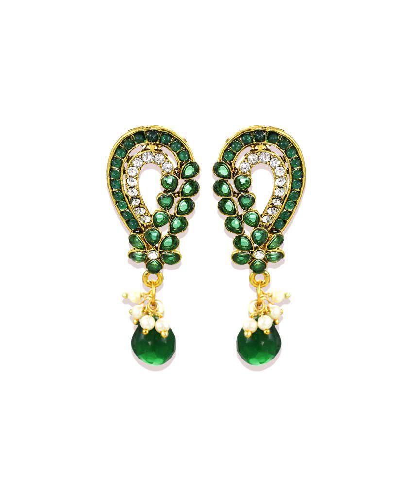 Zaveri Pearls Green Hangings Earrings