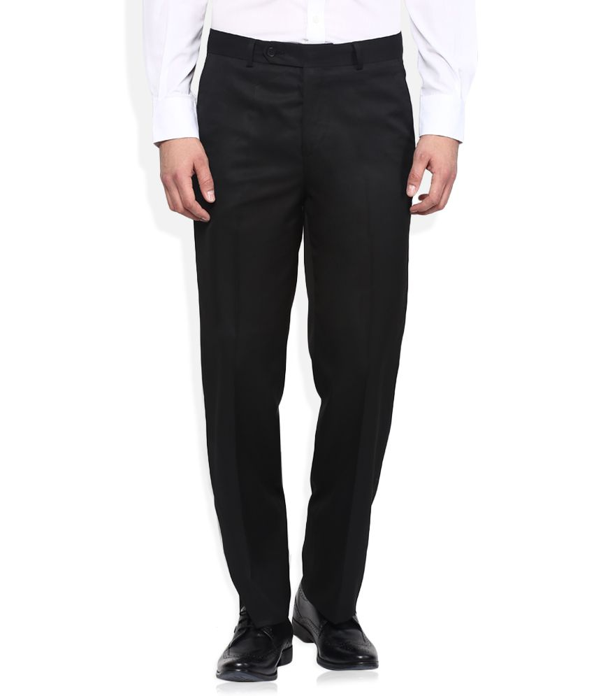 John Players Black Regular Fit Formal Trousers