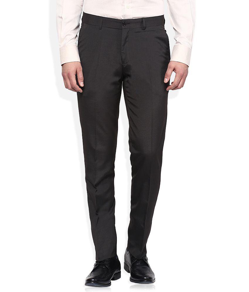 John Players Black Skinny Fit Formal Trousers