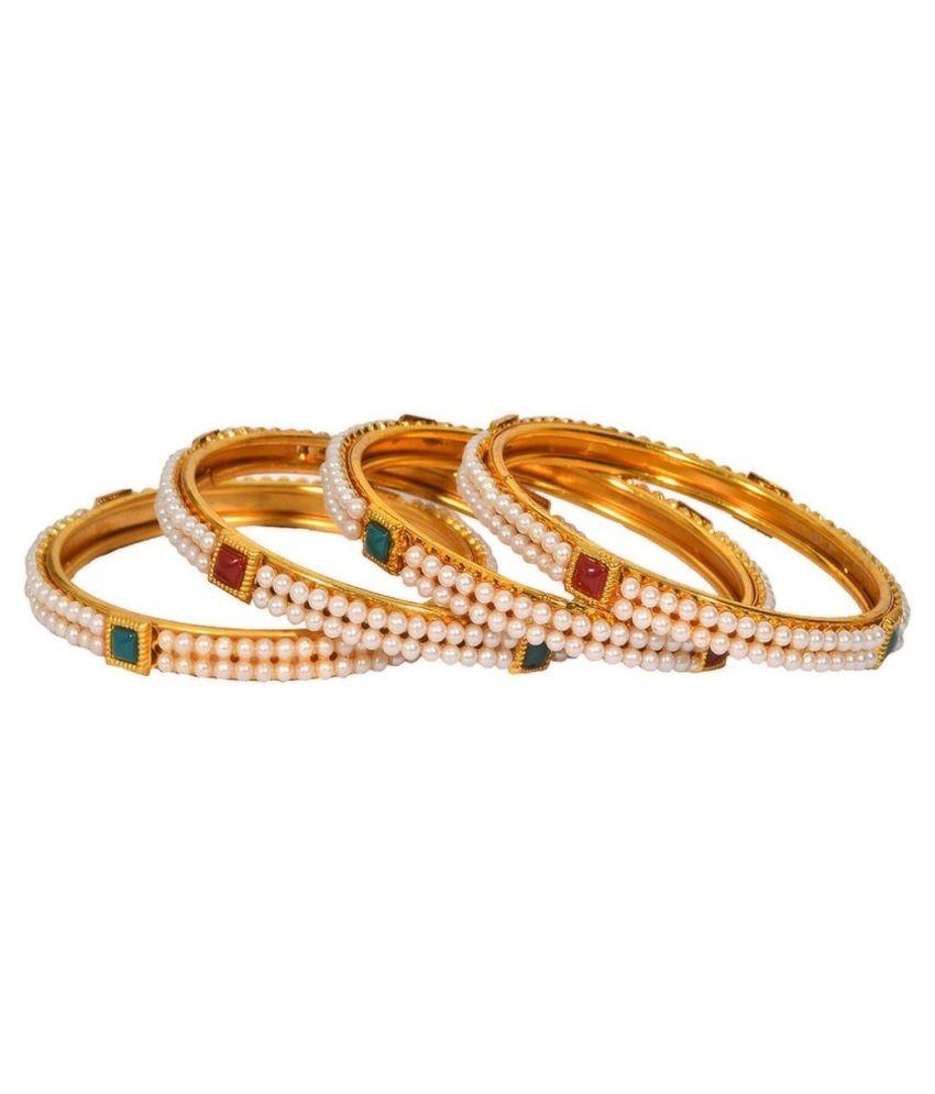Jewels Galaxy Golden Bangle Set