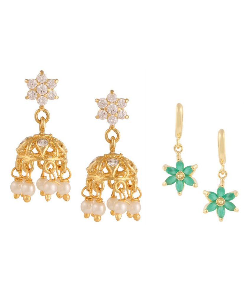 Archi Collection Golden Jhumki Earrings with Drop Earrings