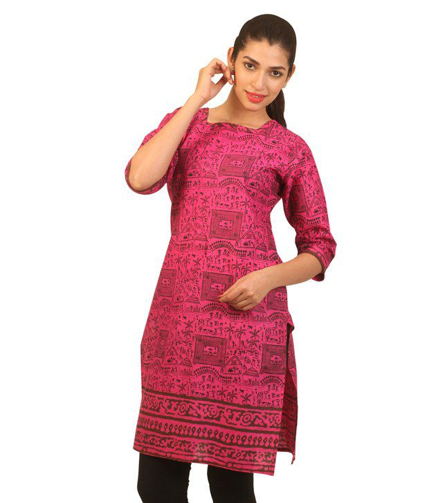 Avignya Pink Cotton Straight Kurti