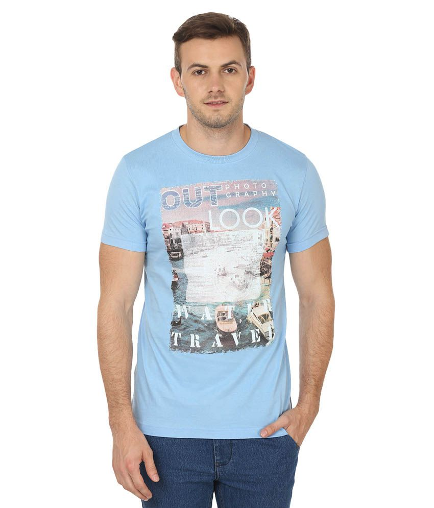 Bansons Fashion Blue Round T-Shirt