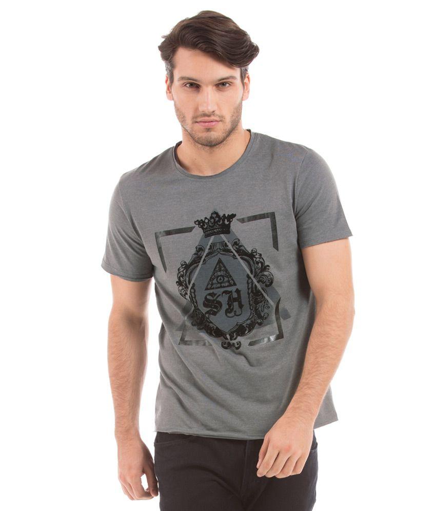 Shuffle Grey Round Half Printed T-Shirt