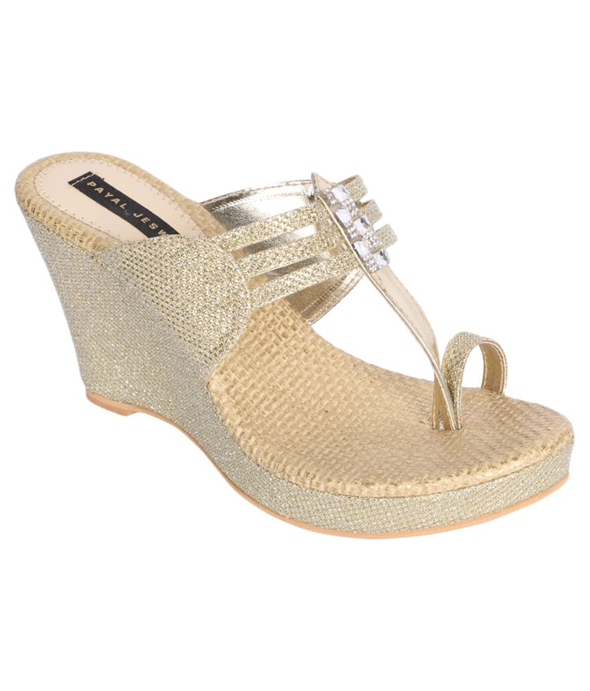 ca811941e5 Payal Jeswani Gold Wedges Heels Price in India- Buy Payal Jeswani Gold  Wedges Heels Online at Snapdeal