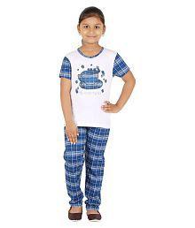 Fictif Multicolour Cotton Nightsuit for Girls