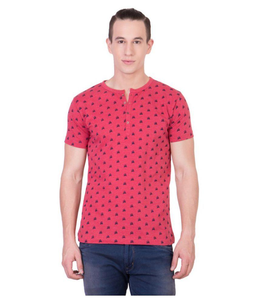 American-Elm Pink Henley T-Shirt