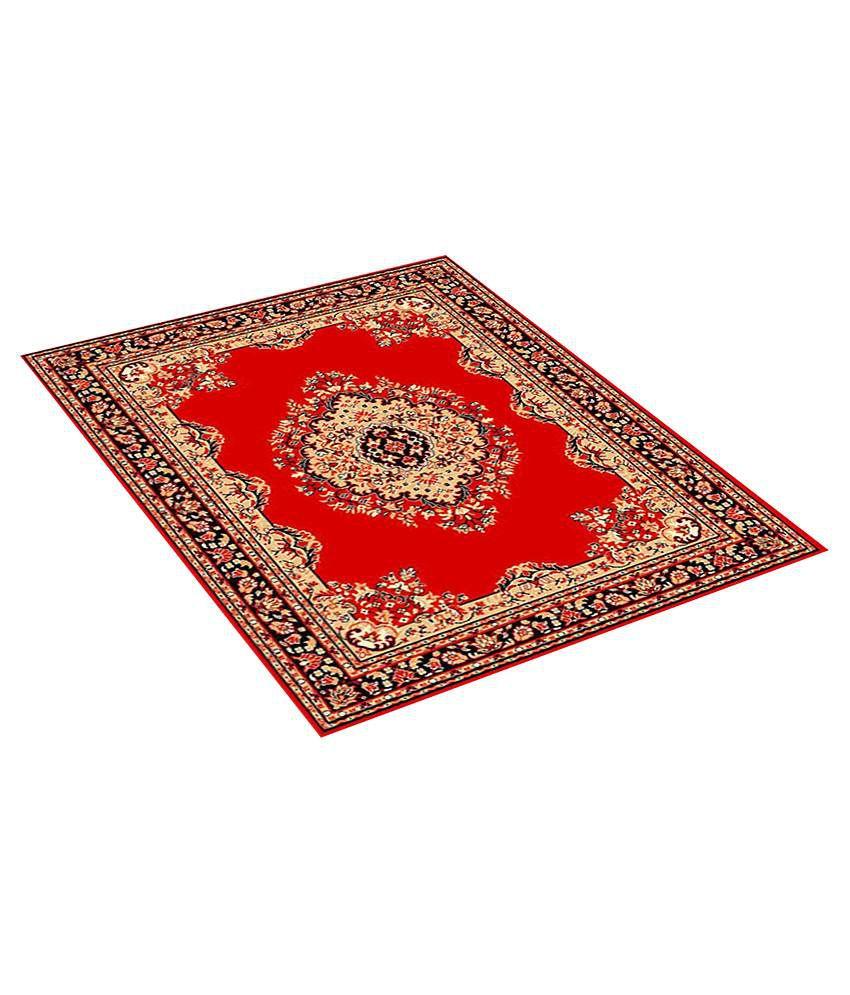 Furnishingland Red Wool Carpet Ethnic 4x6 Ft.