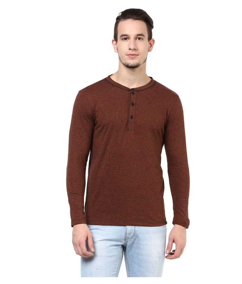 Cotton Fruitz Brown Henley T-Shirt