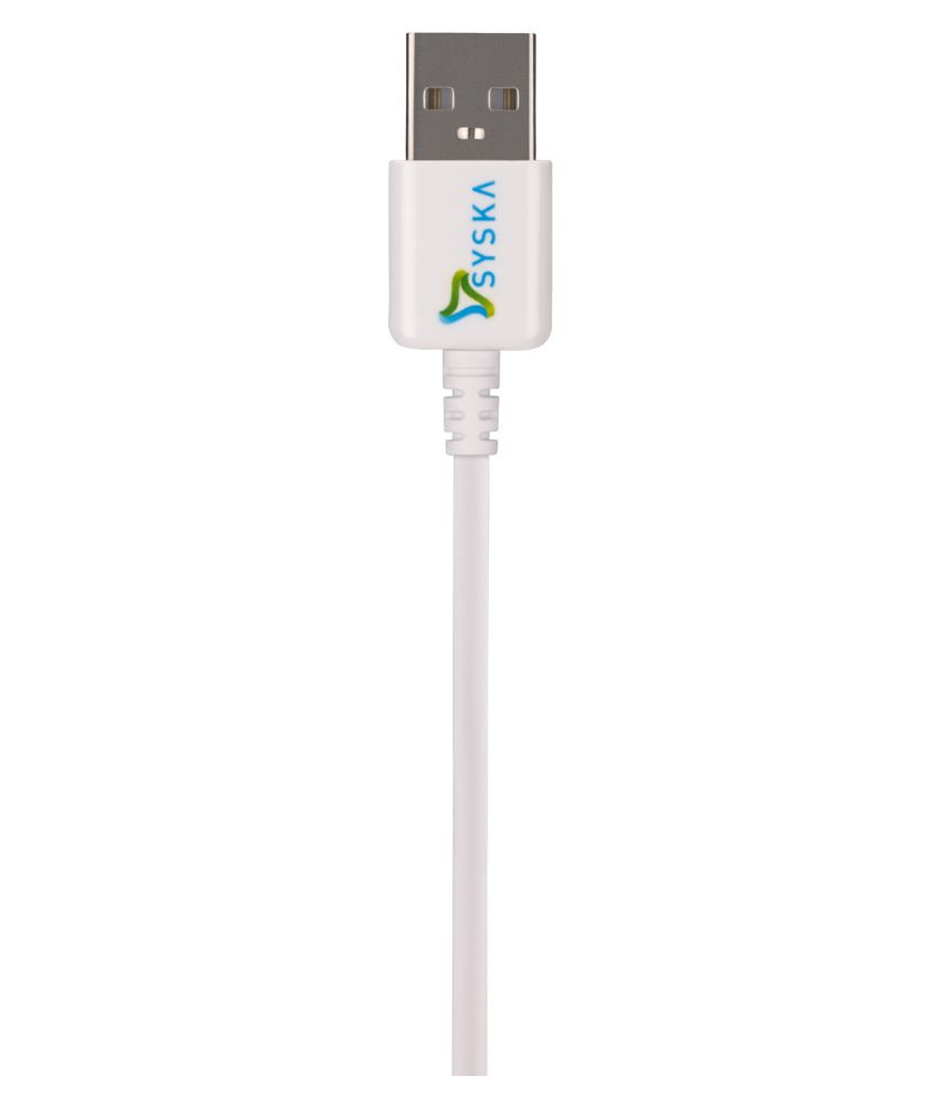 Syska USB Charge and Sync Cable White USB Data Cable Cable 1.5