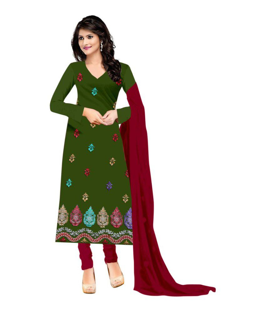Zombom Green Crepe Straight Unstitched Dress Material