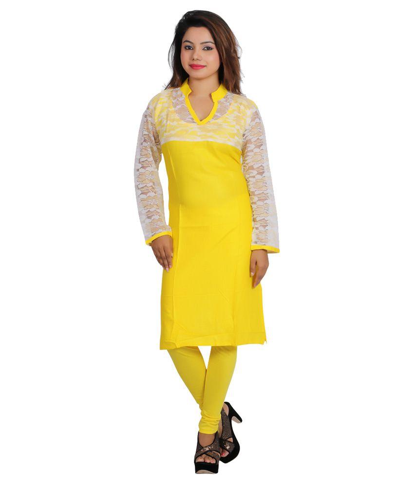 Fashion World Yellow Cotton Straight Digital Kurti