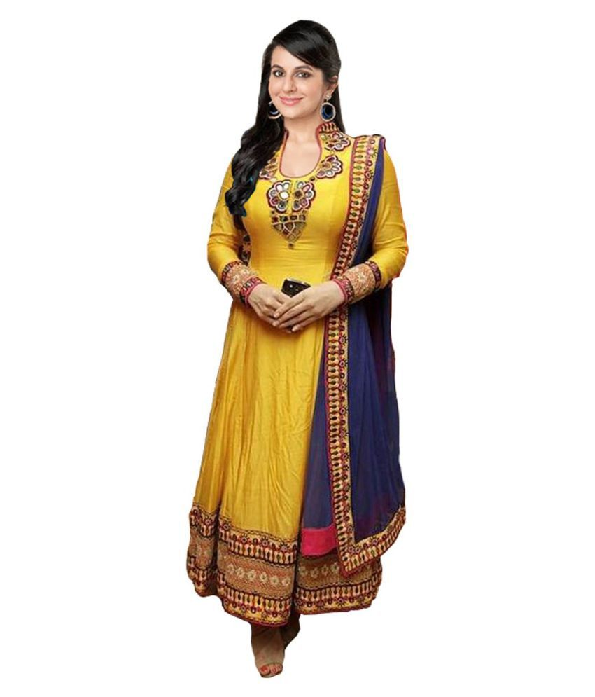 Clickedia Yellow Georgette Dress Material