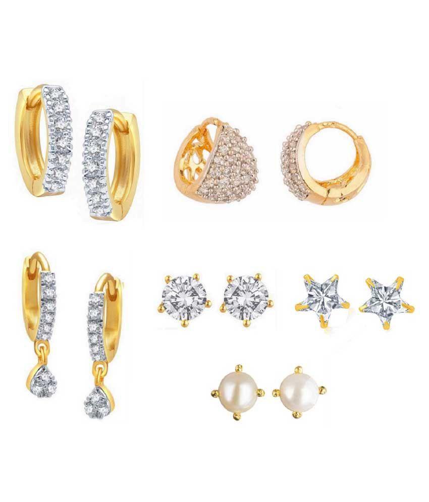 Parijaat White American Diamond Earrings Combo Of 6