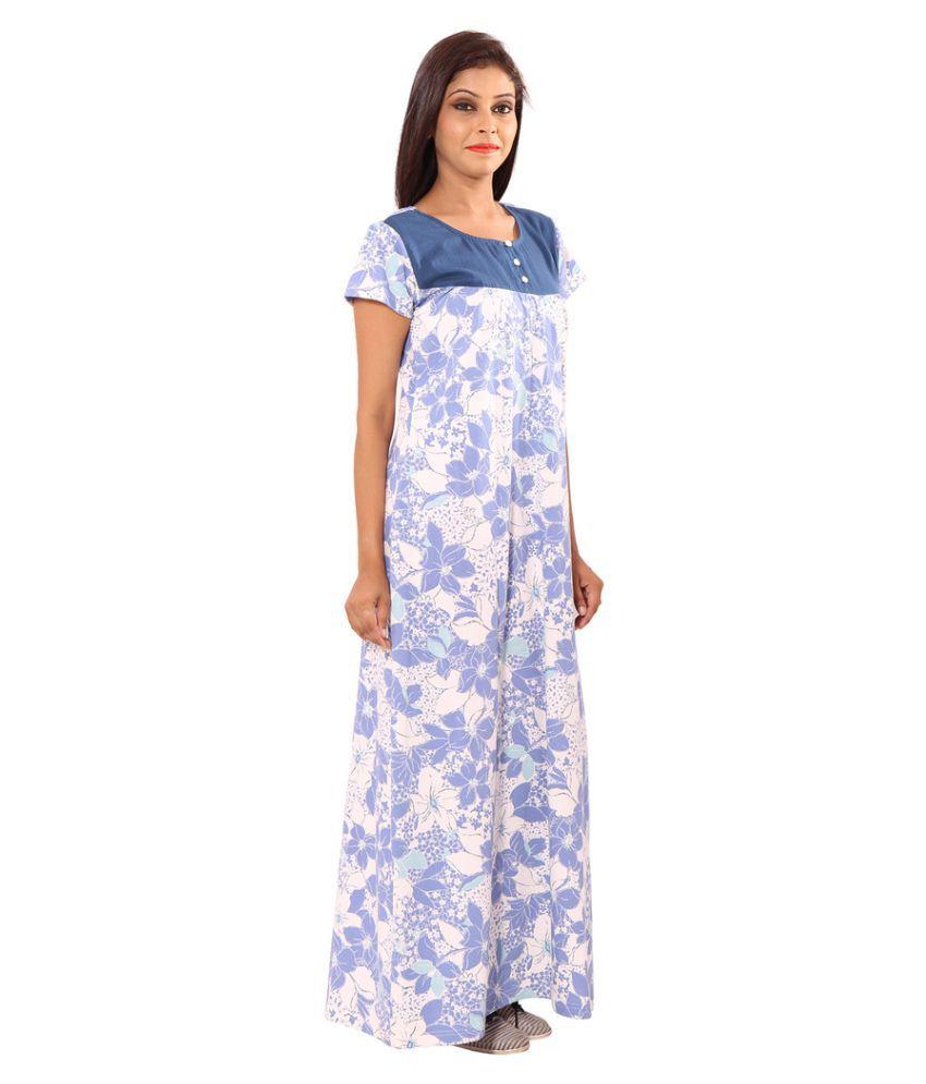 Buy 9Teenagain White Cotton Nighty & Night Gowns Online at Best ...
