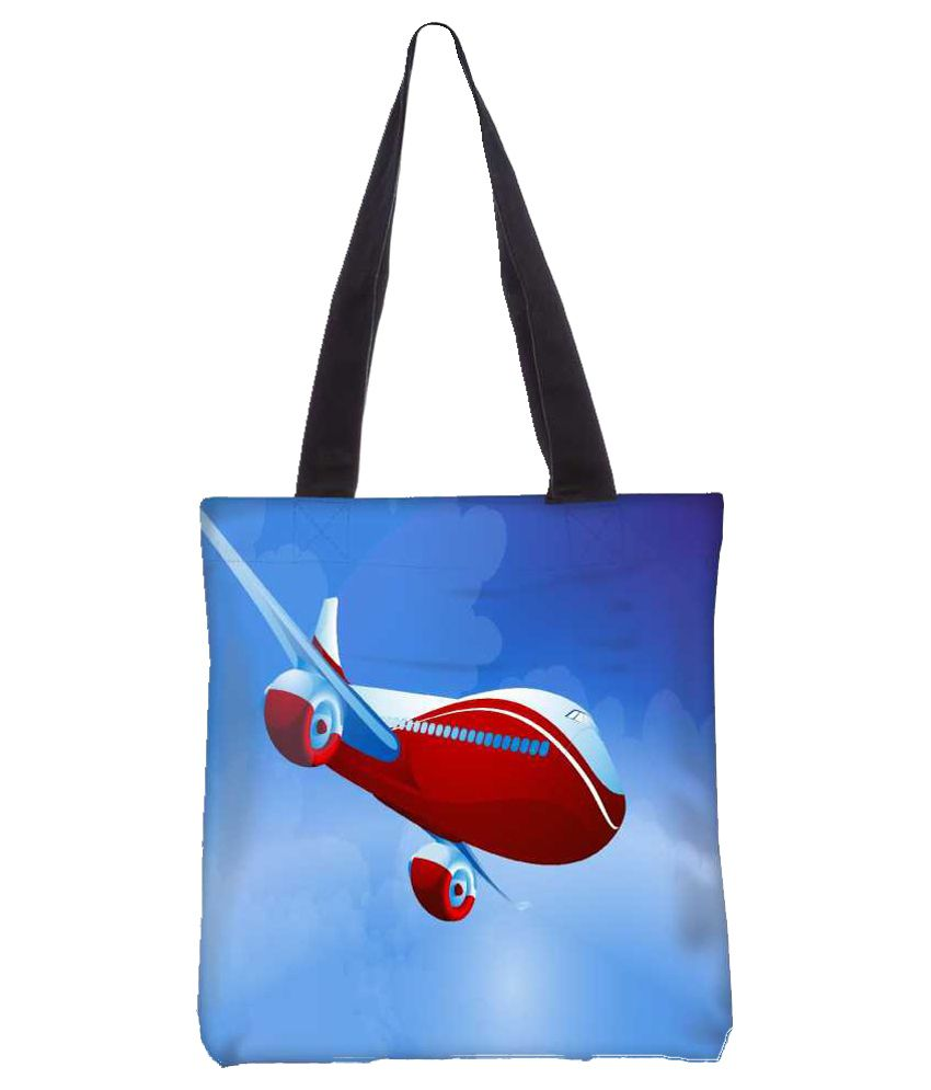 Snoogg Blue Canvas Tote Bag